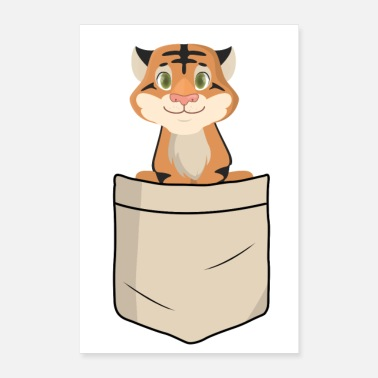 Tierkind Tiger in Hemdtasche (Tierkinder) - Poster