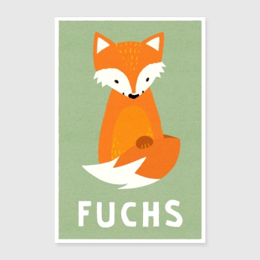 Little fox in paper look - Poster 24 x 35 (60x90 cm)