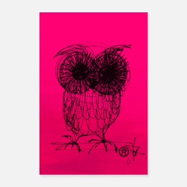 Uv Chouette - rose fluo - Poster