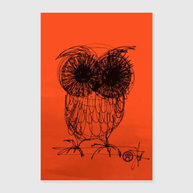 Uggla - neon orange - Poster 60x90 cm