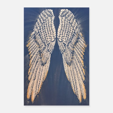 Ivory Ivory and Gold Angel Wings - Poster