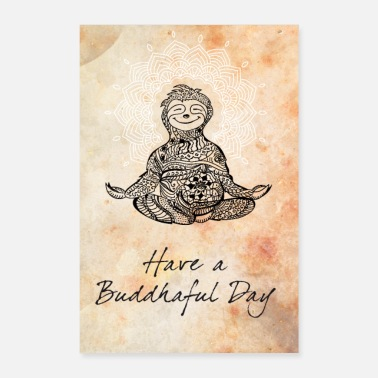 India sloth buddhaful mandala yoga mandala plakat LOL - Poster 60x90 cm