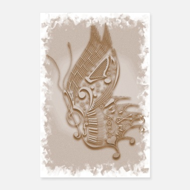Piano Wing Music Butterfly Sepia - Poster