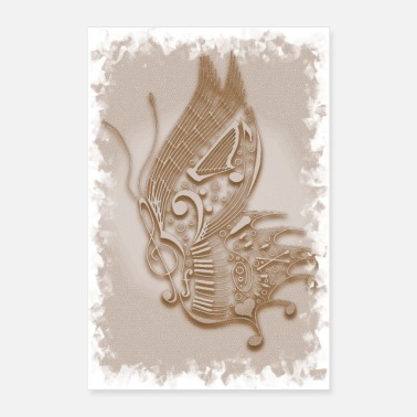 Make Music Music Butterfly Sepia - Poster