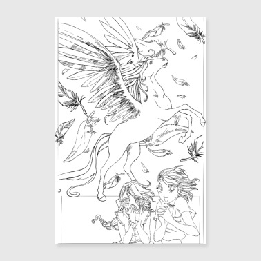 2 girls with Pegasus - Line art version - Poster 24 x 35 (60x90 cm)