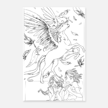 Tablette 2 filles avec Pegasus - Line art version - Poster
