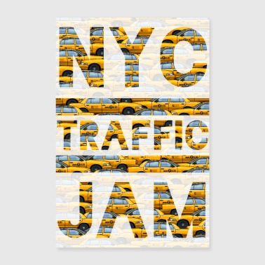 NYC traffic jam taxi New York yellow cab big apple - Poster 60x90 cm