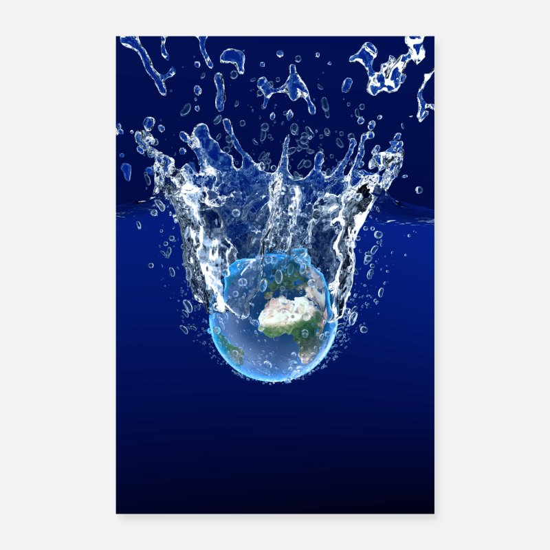 Warming Poster - Global Warming Blue Edition - Poster Weiß