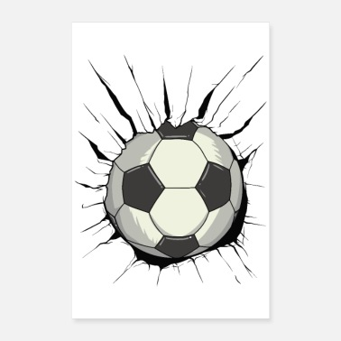 Goalkeeper Breakthrough football - ball wall wall destruction - Poster 24 x 35 (60x90 cm)