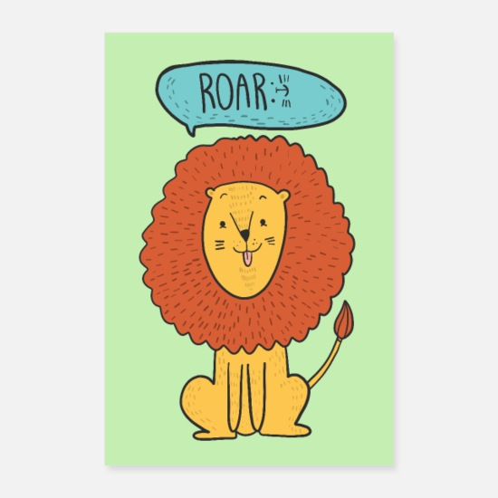 Collection For Kids V2 Posters - Lion animal illustration Comic nursery children - Posters white