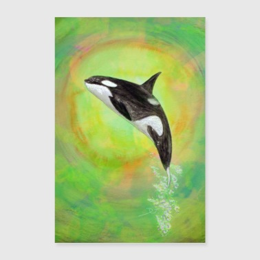 Graphic Art Jumping Orca - green - Poster 24 x 35 (60x90 cm)
