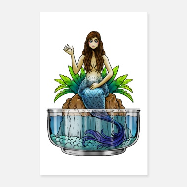 Sea Creatures Mermaid Illustration | Mythical creature mermaid sea - Poster 24 x 35 (60x90 cm)