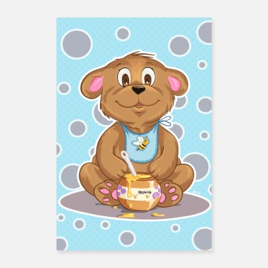 Nicholas Sweet honey bear bee nursery poster gift - Poster 24 x 35 (60x90 cm)
