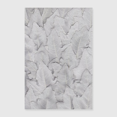 Language Leaf art white, silver - Poster 24 x 35 (60x90 cm)