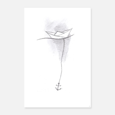 Under Water Paper boat sketch - Poster 24 x 35 (60x90 cm)