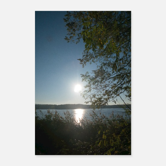 Calm Posters - Reflecting sunrise at the lake - Posters white