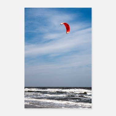 Heavy Kite surfers in the sea - Poster 24 x 35 (60x90 cm)