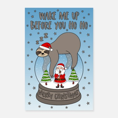 Winter Poster snow globe sloth Christmas man stars - Poster