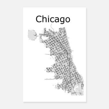 Chicago stilisierte Straßenkarte Chicago - Poster