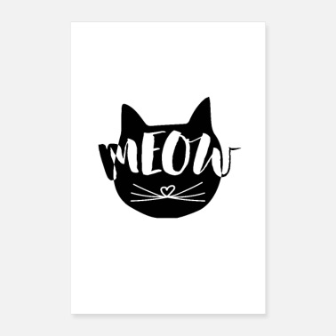 Typo MEOW Cats Illustration med Typo som Print Motive - Poster 60x90 cm