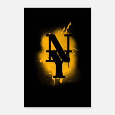 Ny NY County Mets - New York Graffiti Yellow Design - Poster