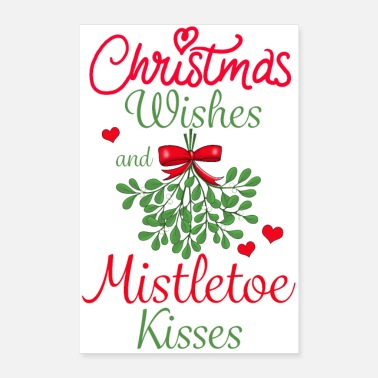Santa Christmas Wishes and Mistletoe Kisses poster - Poster 24 x 35 (60x90 cm)