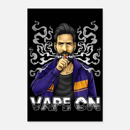 Illustration Poster - Vape On Illustration | Bärtiger Vaper | Mech Mod - Poster Weiß