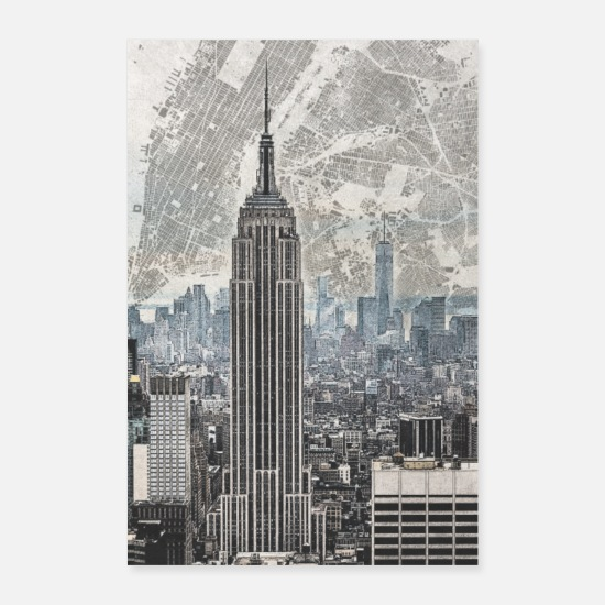 York Poster - Poster - New York Skyline - Poster Weiß