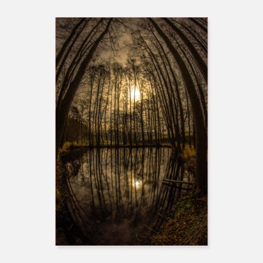 Autumn Night at the pond - Poster 24 x 35 (60x90 cm)