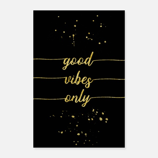 Or Posters - TEXT ART GOLD Bonnes vibrations seulement - Posters blanc