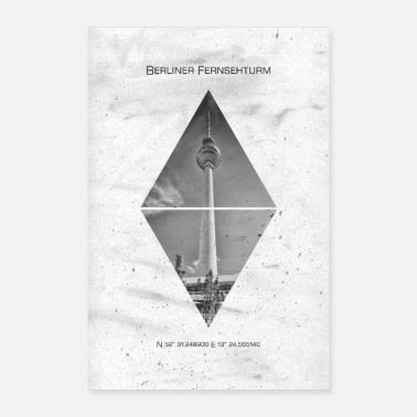 East Berlin Coordinates BERLIN TV tower - Poster 24 x 35 (60x90 cm)