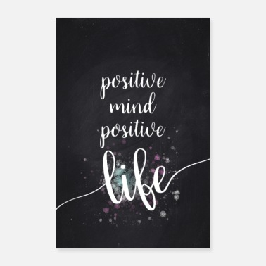 Text Art POSITIVE MIND VIE POSITIVE - Poster 60 x 90 cm
