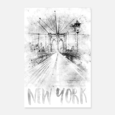 Monochrome Kunst NYC Brooklyn Bridge | Aquarell - Poster
