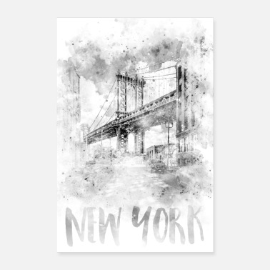 Monochrome Kunst NYC Manhattan Bridge | Aquarell - Poster