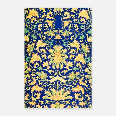 Vintage Flowers pattern blue yellow - Poster 24 x 35 (60x90 cm)