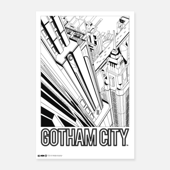 Schwarz Poster - Batman Gotham City Comic Cover - Poster Weiß