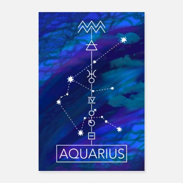 Lucky Number Aquarius poster blue - Poster
