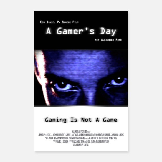 Play Posters - A Gamer's Day - Movie poster for old-school gamers - Posters white