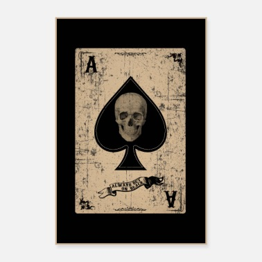 Skull Spades, skull, retro style, playing card - Poster