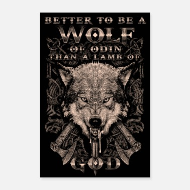 Axe Wolf of Odin with Viking axes - Poster