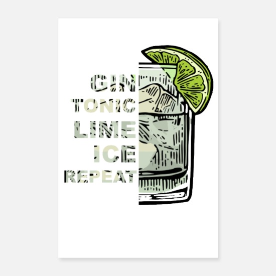 Gin Poster - Gin Tonic Lime Ice Repeat - Poster bianco