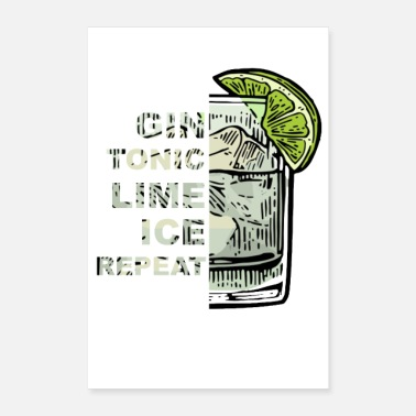 Alkoholi Gin Tonic Lime Ice Repeat - Juliste