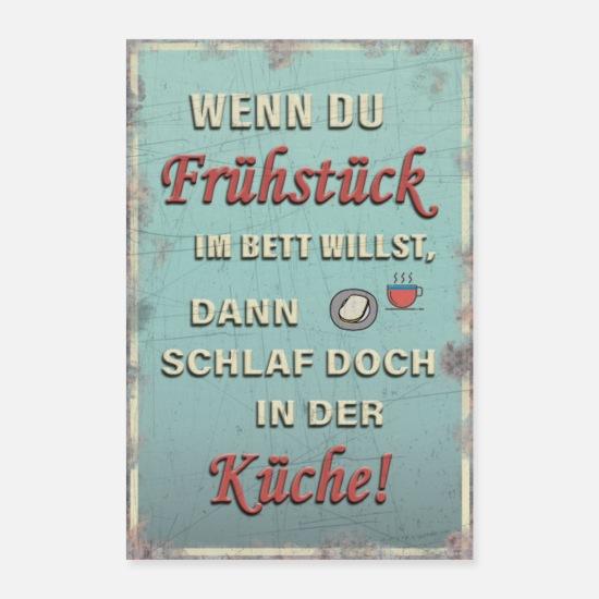 Retro Küchen Spruch - Frühstücken Vintage Poster - Weiß