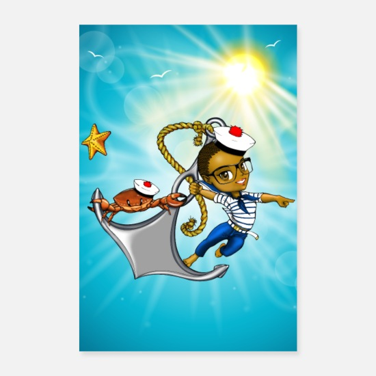 Skipper Posters - Marine à lunettes et Crabby - manga ancre marine - Posters blanc