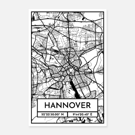 Hannover Poster - Hannover – Stadtplan Poster City Map (Retro) - Poster Weiß