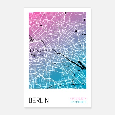 Karte Berlin – Stadtplan Poster City Map (Gradient) - Poster