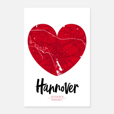 Map Hannover - City Map Map Map (Heart) - Poster