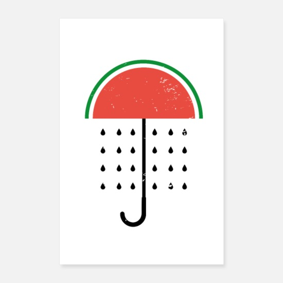 Grains Posters - Funny watermelon umbrella motif - Posters white