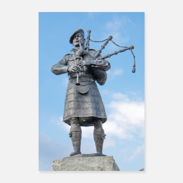 Great Highland Memorial for the Highland Regiment bagpiper - Poster