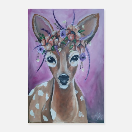 Stag Posters - Fawn with floral decoration - Posters white